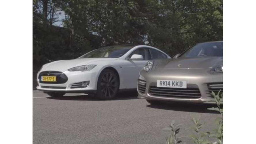 Tesla Model S P85D Versus Porsche Panamera Turbo S - Drag Race Video