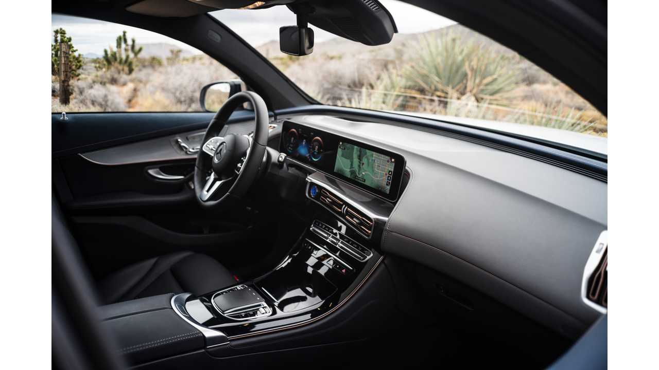 The EQC's interior and dashboard is typical Mercedes. Beautifully laid out, and luxurious. The MBUX infotainment system looks great.