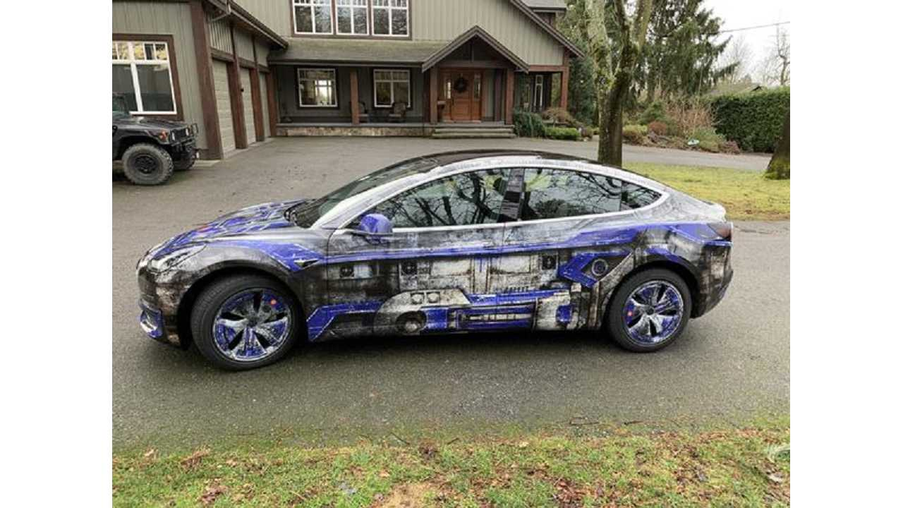 This Star Wars R2-D2 Inspired Tesla Model 3 Is Epic