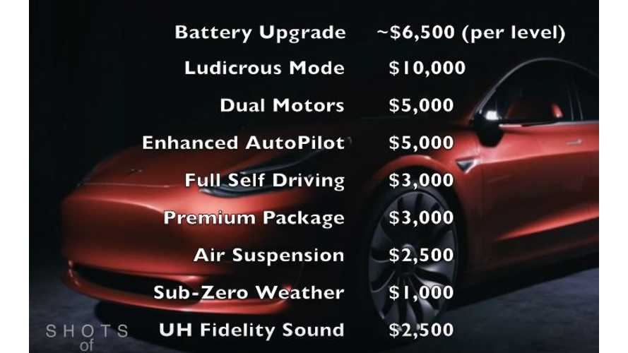 Speculative Options & Pricing For Tesla Model 3 - Video