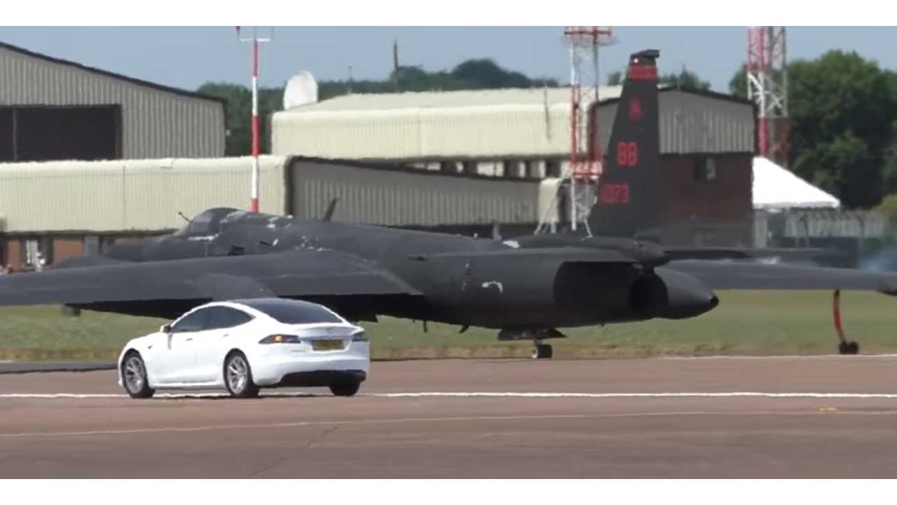 Tesla Model S Helps Launch Spy Planes At Royal Air Force Base - Video