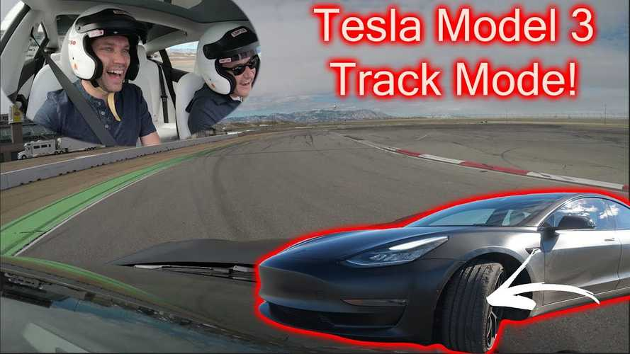 Tesla Model 3 With Track Mode Toasts Tires: Incredible Drone Footage
