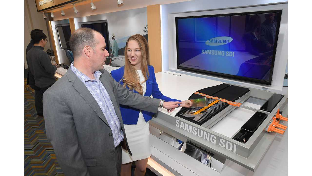 Samsung SDI exhibited a brand new fast-charging, high-capacity battery material as well as cutting-edge battery products for electric vehicles at 2018 Detroit Motor Show.