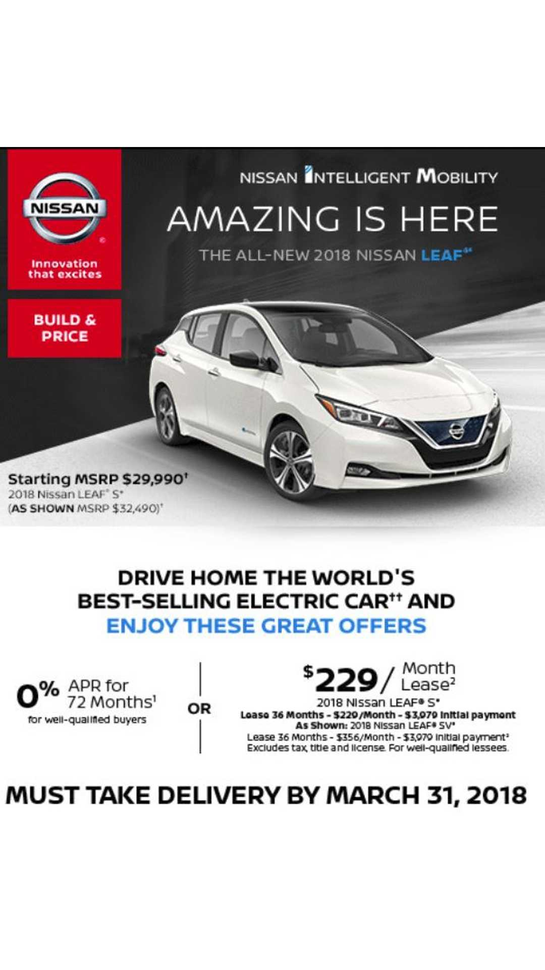 New Nissan Leaf Lease Deal Of 229 Per Month Lots Down
