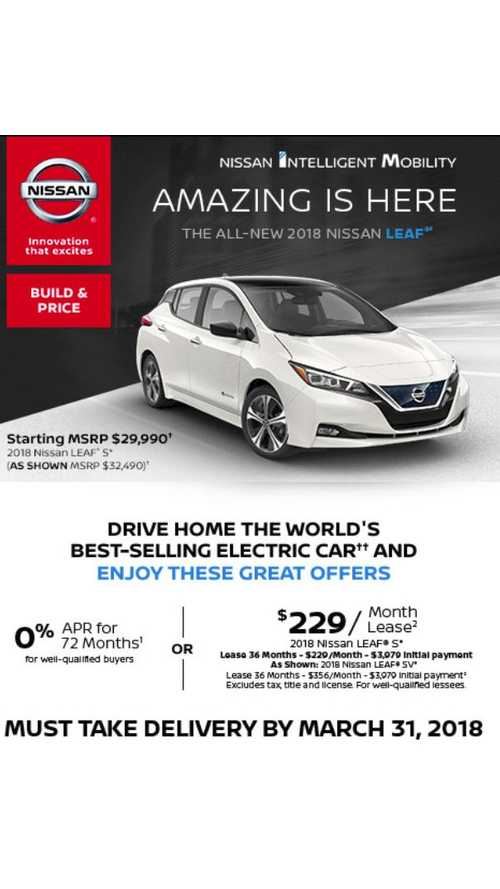 New Nissan LEAF Lease Deal Of $229 Per Month, Lots Down