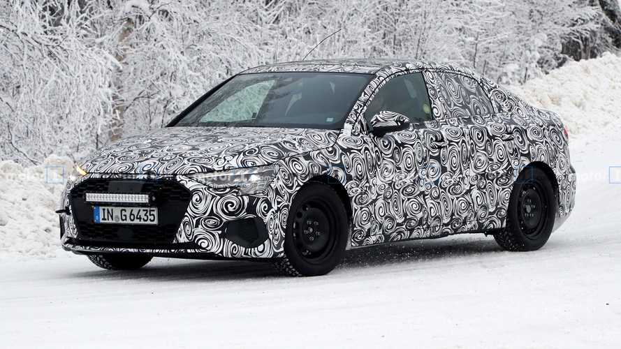 2021 Audi A3 Saloon spied up close in chilly Sweden
