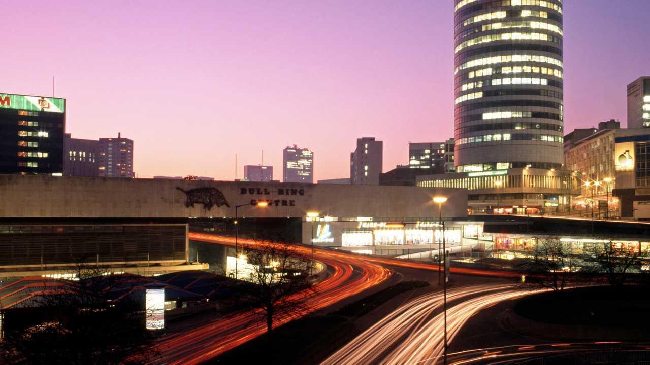 View of Rotunda and Bull Ring in Birmingham UK