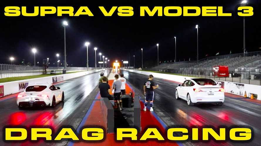 Tesla Model 3 Performance vs Toyota Supra, sparo all'ultimo centesimo