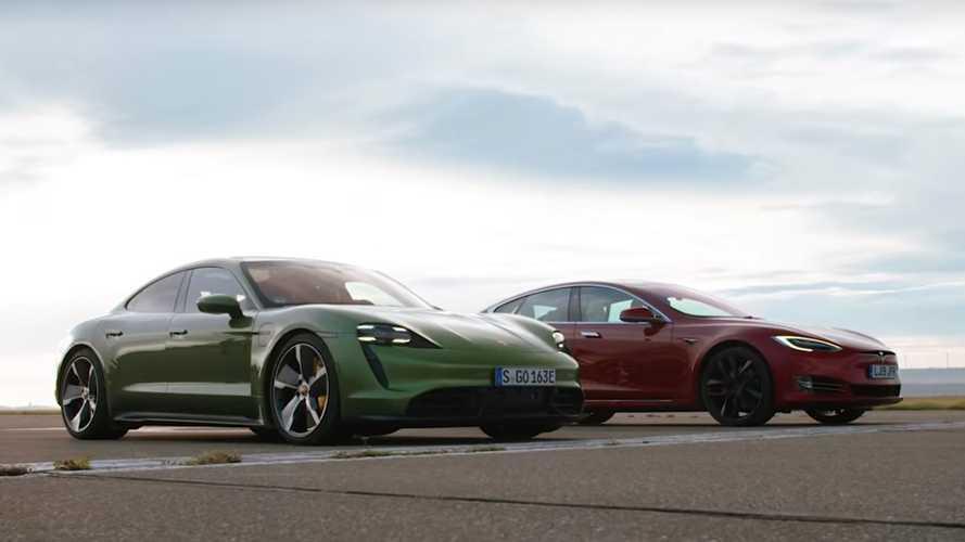 Porsche Taycan contro Tesla Model S, sfida al fotofinish
