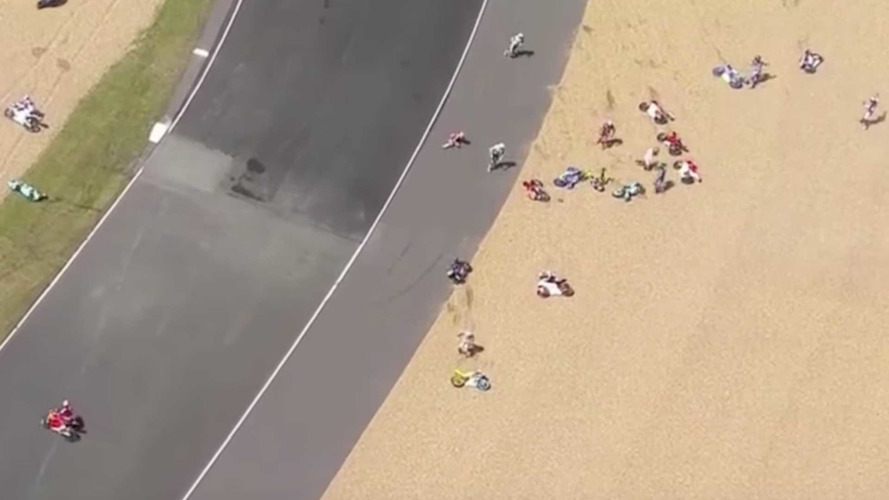 Watch This Huge Pack Of Moto 3 Riders Crash At French GP