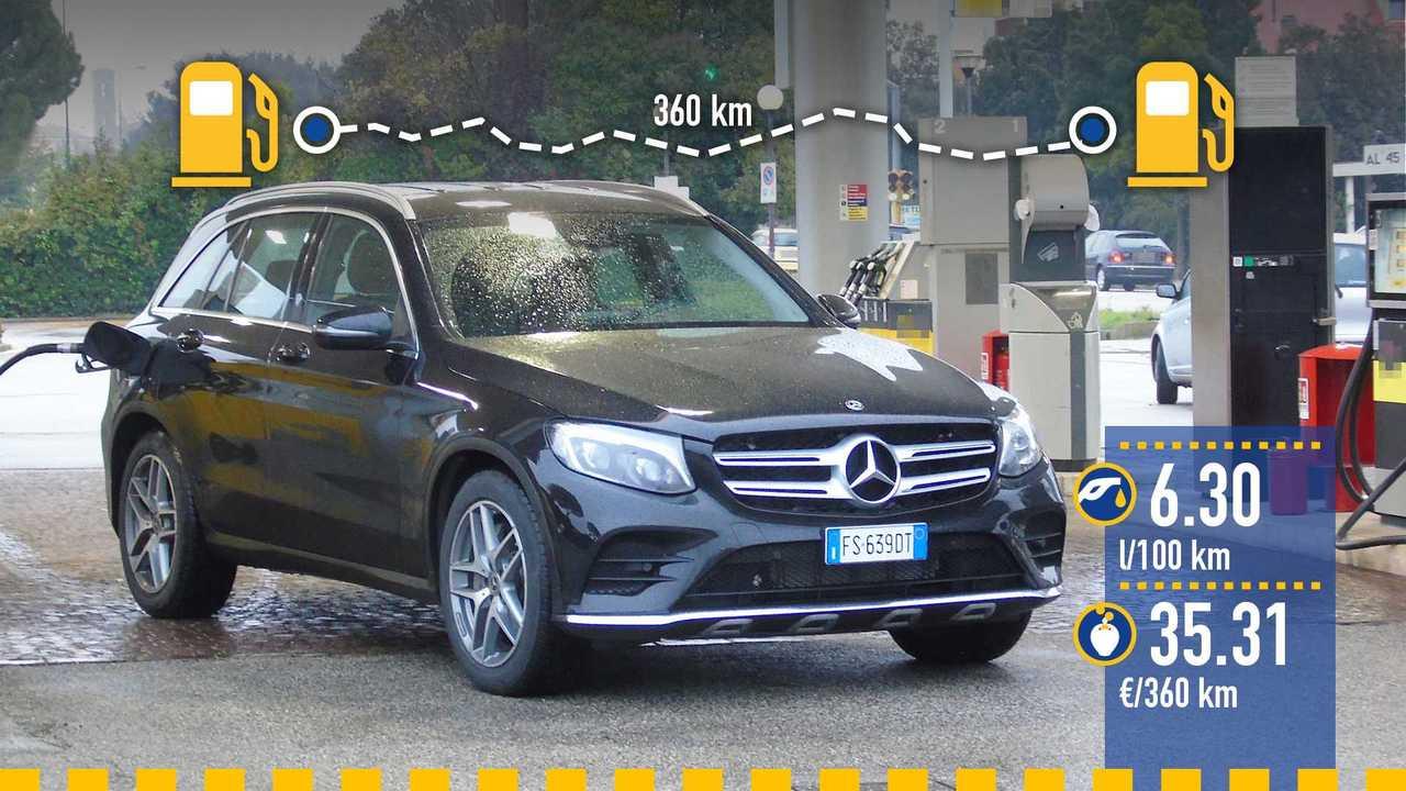 Mercedes GLC 350 e, la prova consumi