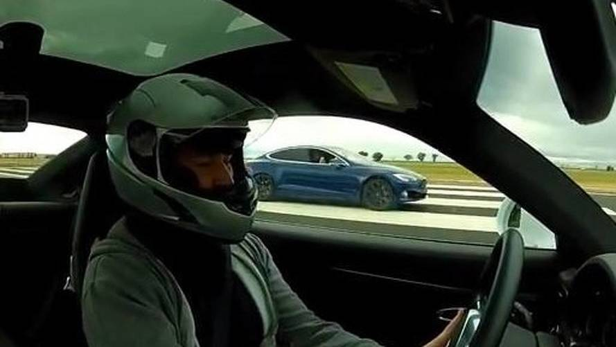 Watch Tesla Model S P100D Race Porsche 911 Turbo S In 1/2-Mile