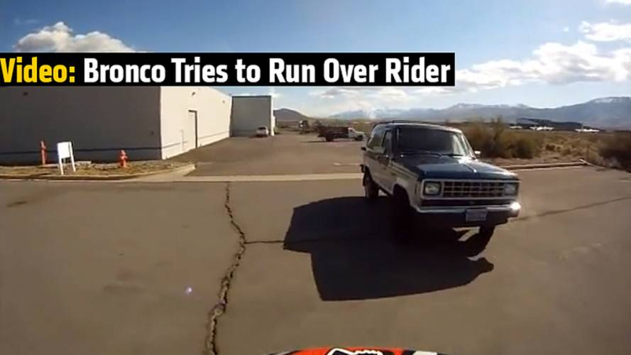 Video: Bronco Tries to Run Over Rider