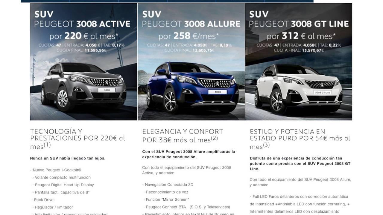 Peugeot 3008 2018, desde 220 euros al mes