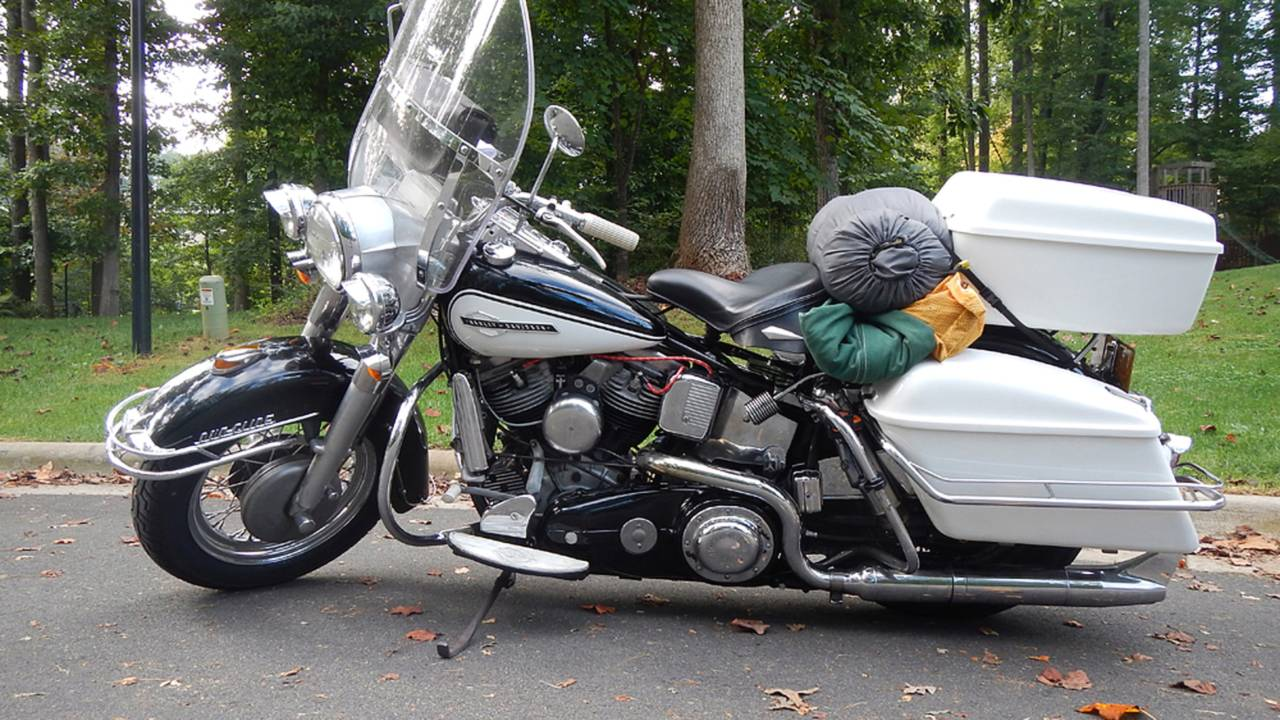 Ready to pull out with my hard bags packed to capacity and my camping gear strapped on the rear fender.