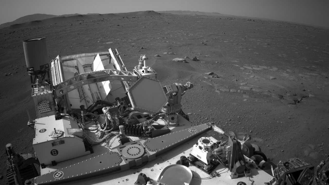 This image from NASA shows Perseverance resting on the surface of Mars.