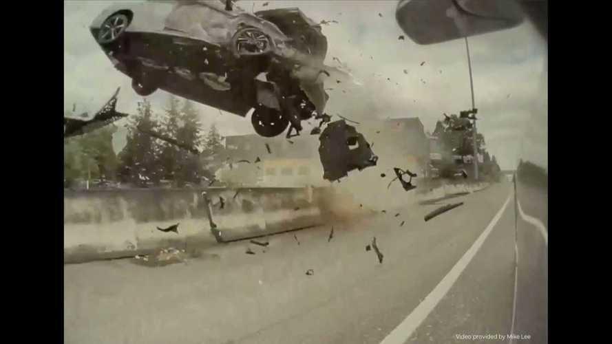 Violent Airborne Rollover Crash In Portland Caught On TeslaCam