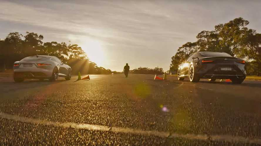 Watch Lexus LC 500 and Jaguar F-Type drag race into the sunset