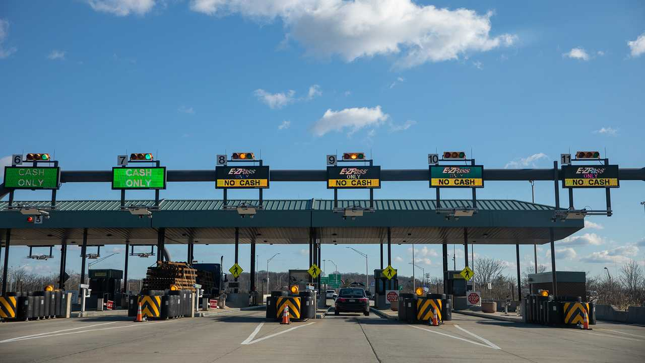 A toll stop on the Pennsylvania Turnpike, the most expensive toll road in the US.