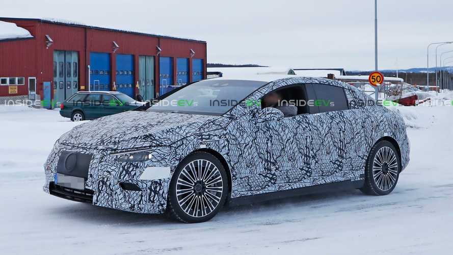 Mercedes-Benz EQE Sedan Camouflaged Prototype Sports Production Rear Lights