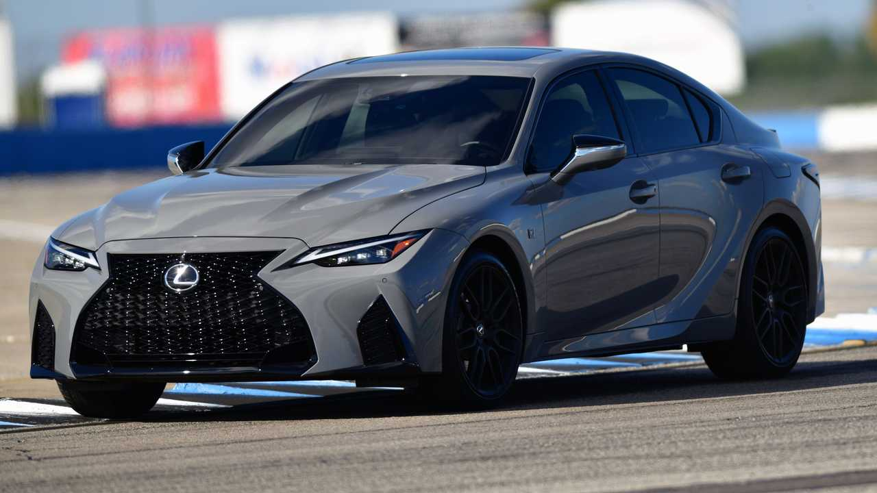 2022 Lexus IS 500 F Sport Performance on a race track.