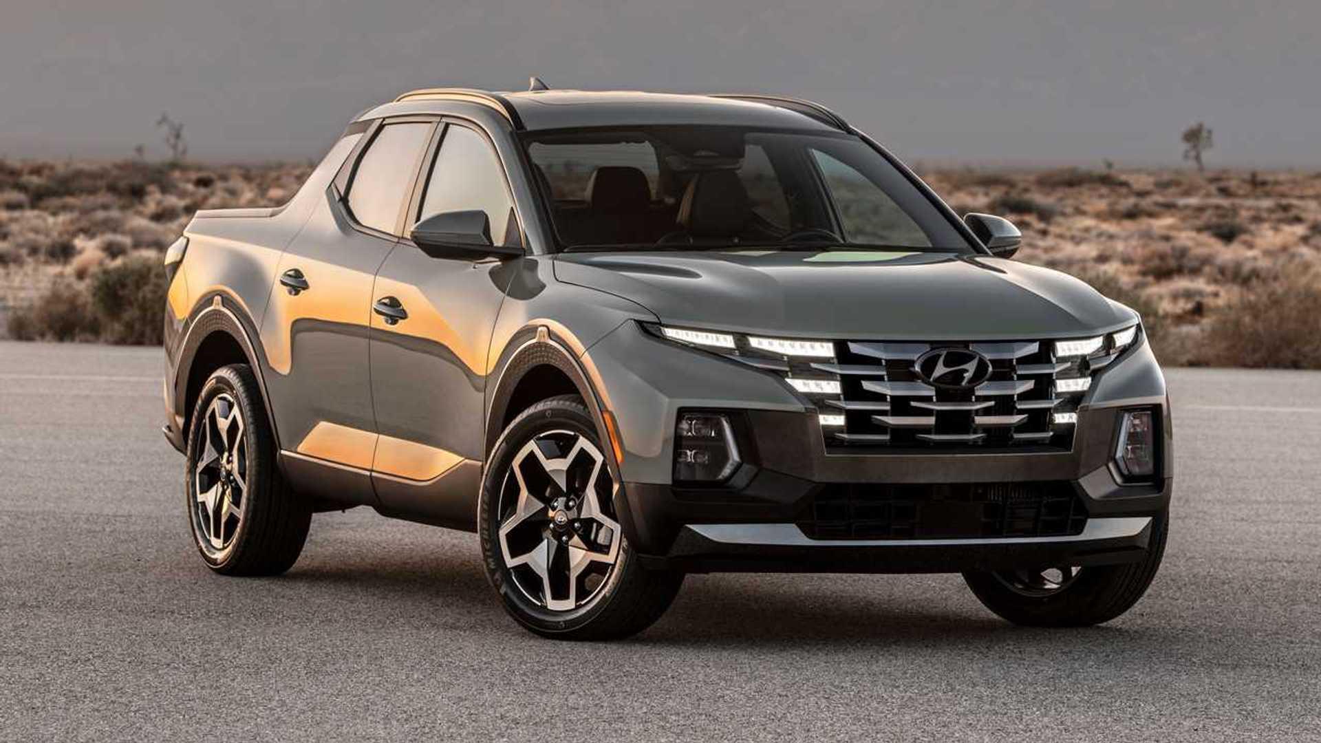 2022 Hyundai Santa Cruz primer desierto de tres cuartos cuadrados