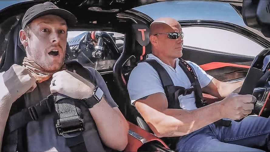 Producer's reaction after riding shotgun with SSC Tuatara is priceless