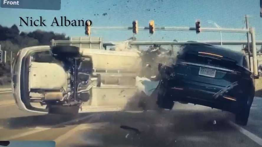Watch Stopped Tesla Model X Go Airborne After Getting Smashed By Speeding Car