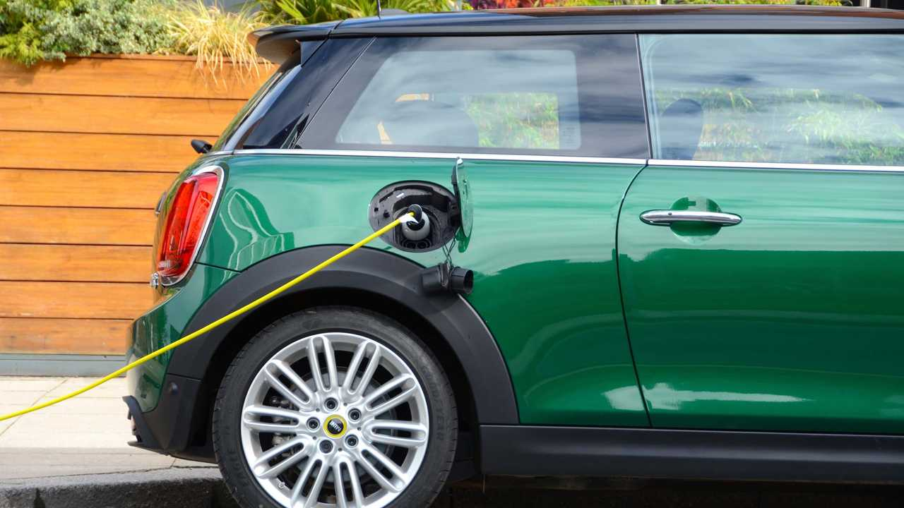 Mini Cooper SE Electric plugged in charging