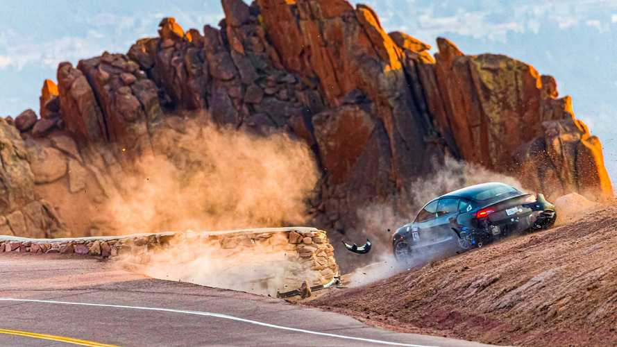 Unplugged Performance Tesla Model 3 Crash At Pikes Peak