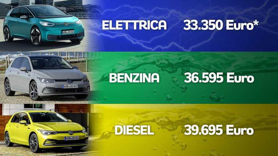 Golf 8 vs ID.3, quando l'auto elettrica costa meno di benzina e diesel