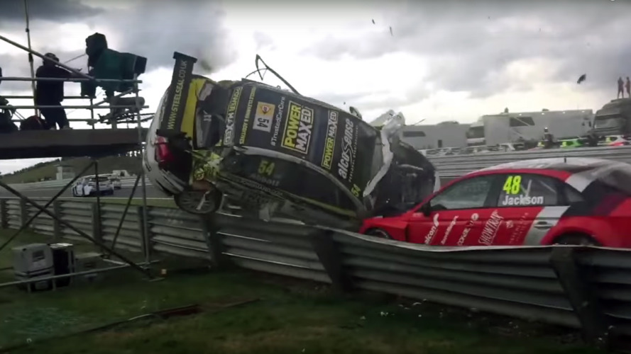 BTCC barrel roll crash narrowly misses cameraman