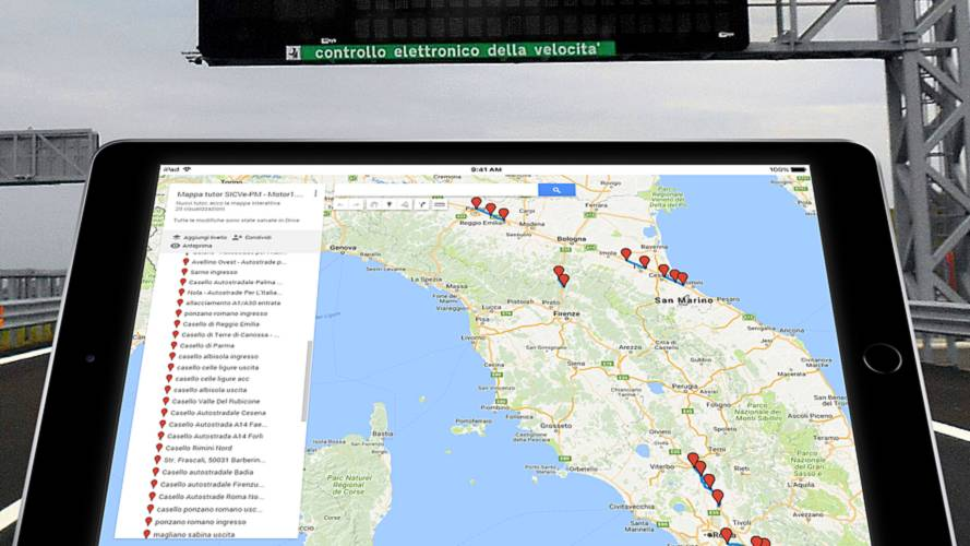 Mappa nuovi Tutor, ecco dove sono attivi in autostrada