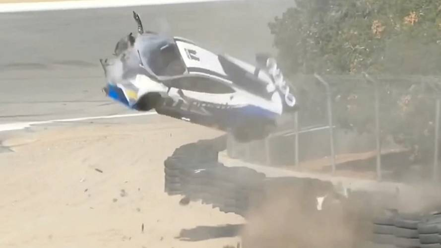Huracan Super Trofeo slams head-on into barrier at Laguna Seca