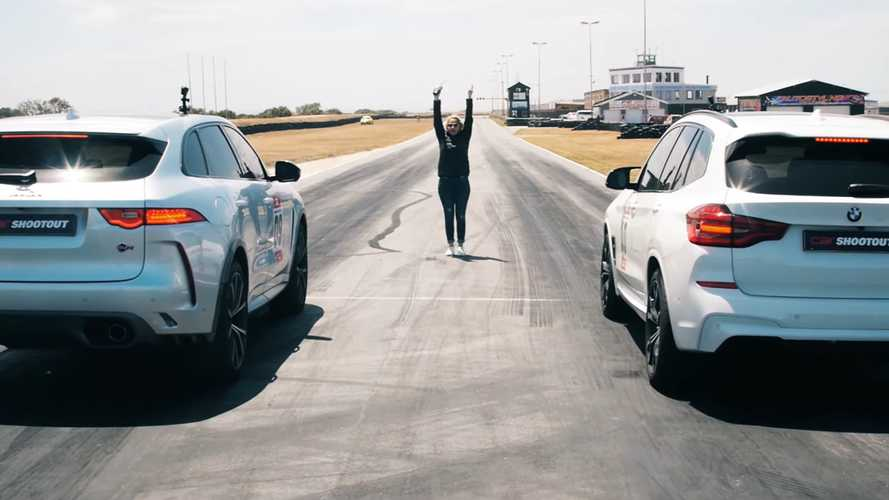 BMW X3 M Competition drag races Jaguar F-Pace SVR