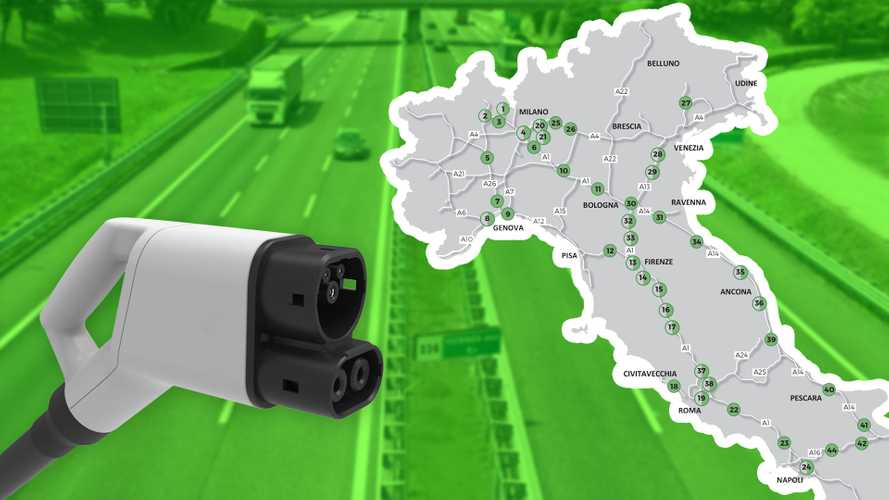 Colonnine auto elettriche in autostrada, ecco dove saranno installate