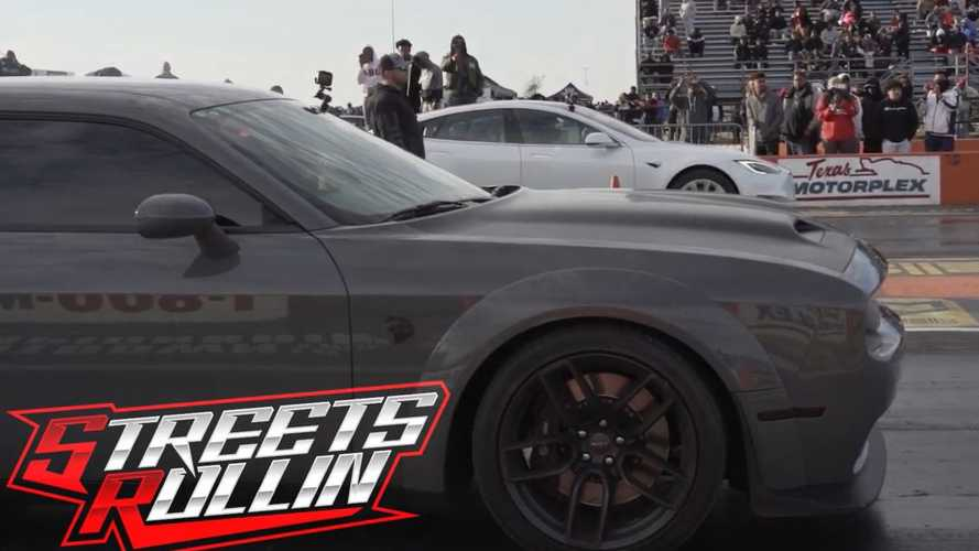Watch Tesla Model S Vs 'Hellstorm' Dodge Challenger SRT Hellcat Redeye