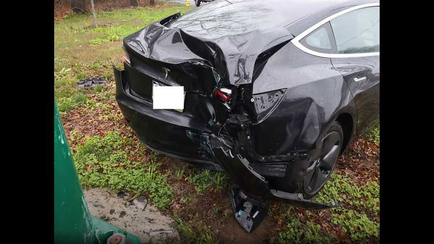 Watch Tesla Model 3 Spin Out, Slam Into Pole: Car Crunched, Driver Safe