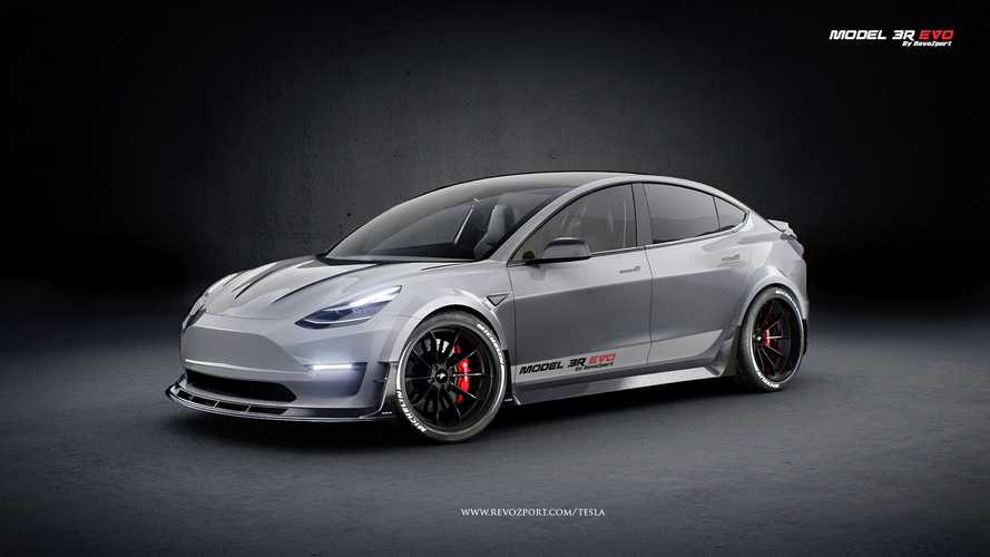 Widebody Tesla Model 3 Has Active Aero, Naked Carbon Fiber