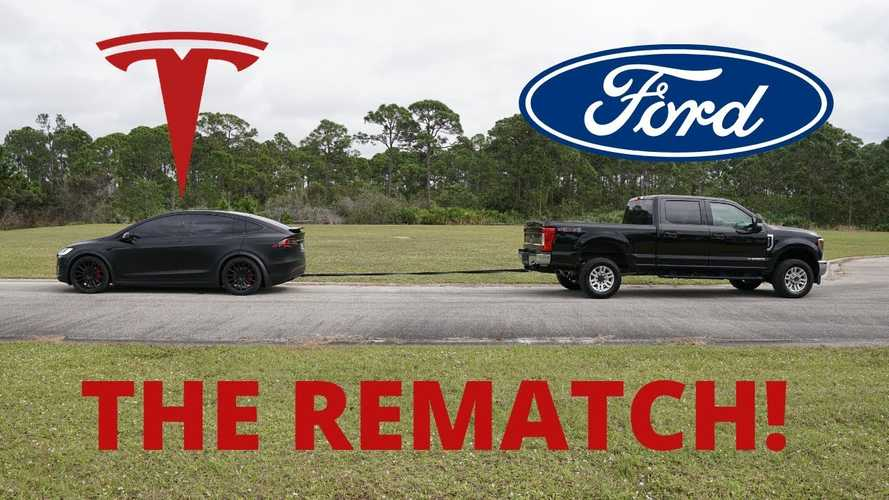 Watch Ford F-250 Diesel 4x4 in tug of war battle against Tesla Model X