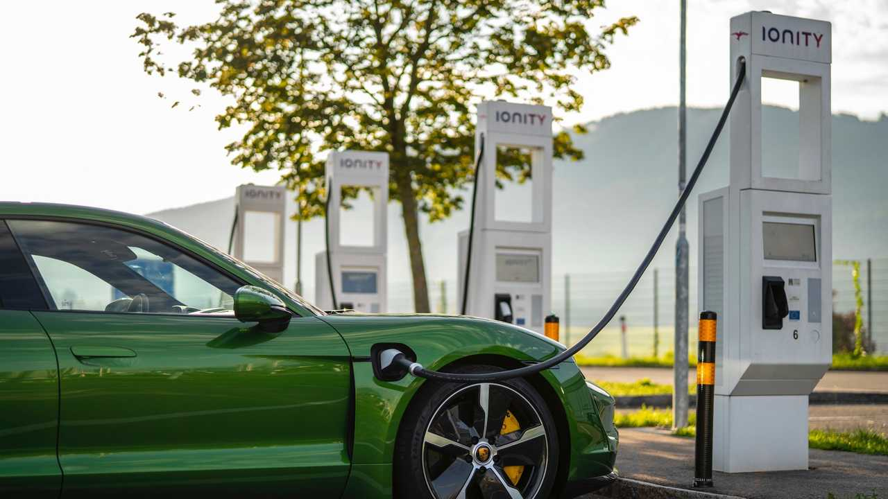 Porsche Taycan at the IONITY fast charging station