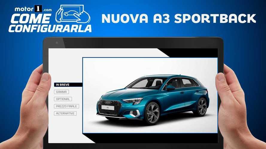 """Nuova Audi A3 Sportback, come configurarla in versione """"base"""" e """"ricca"""""""