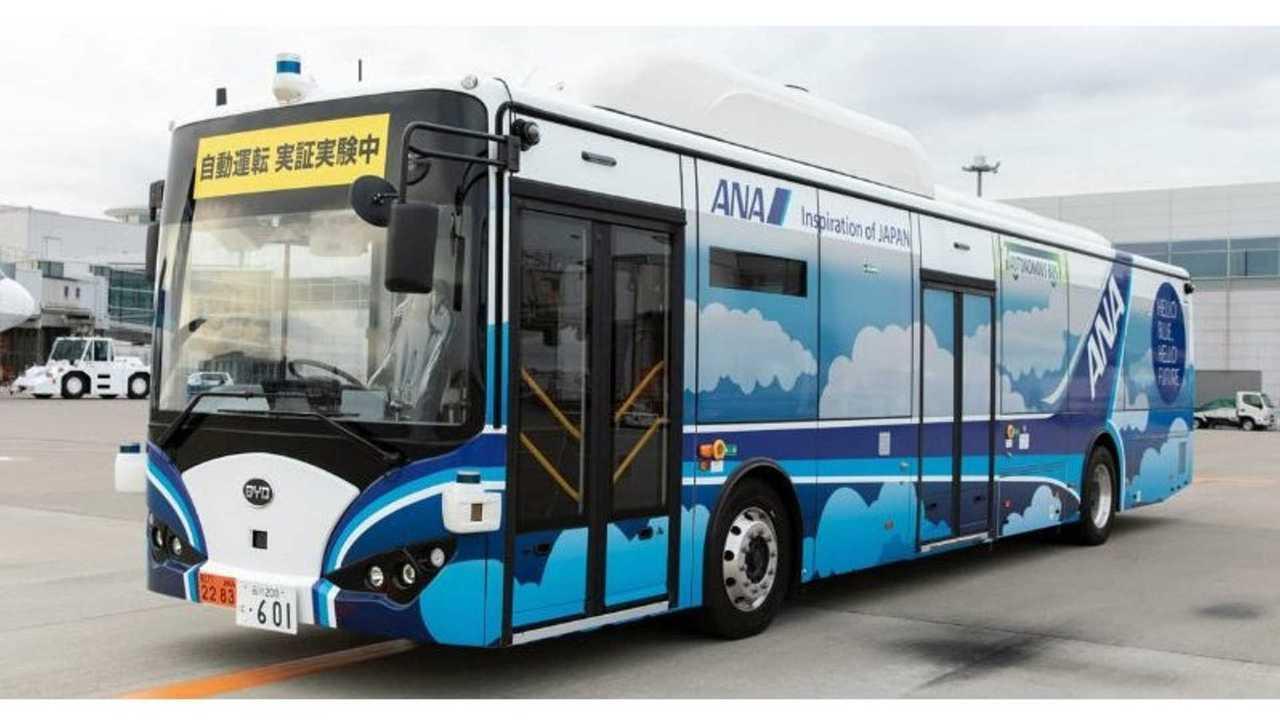 ANA Test Autonomous Electric Bus at Haneda International Airport