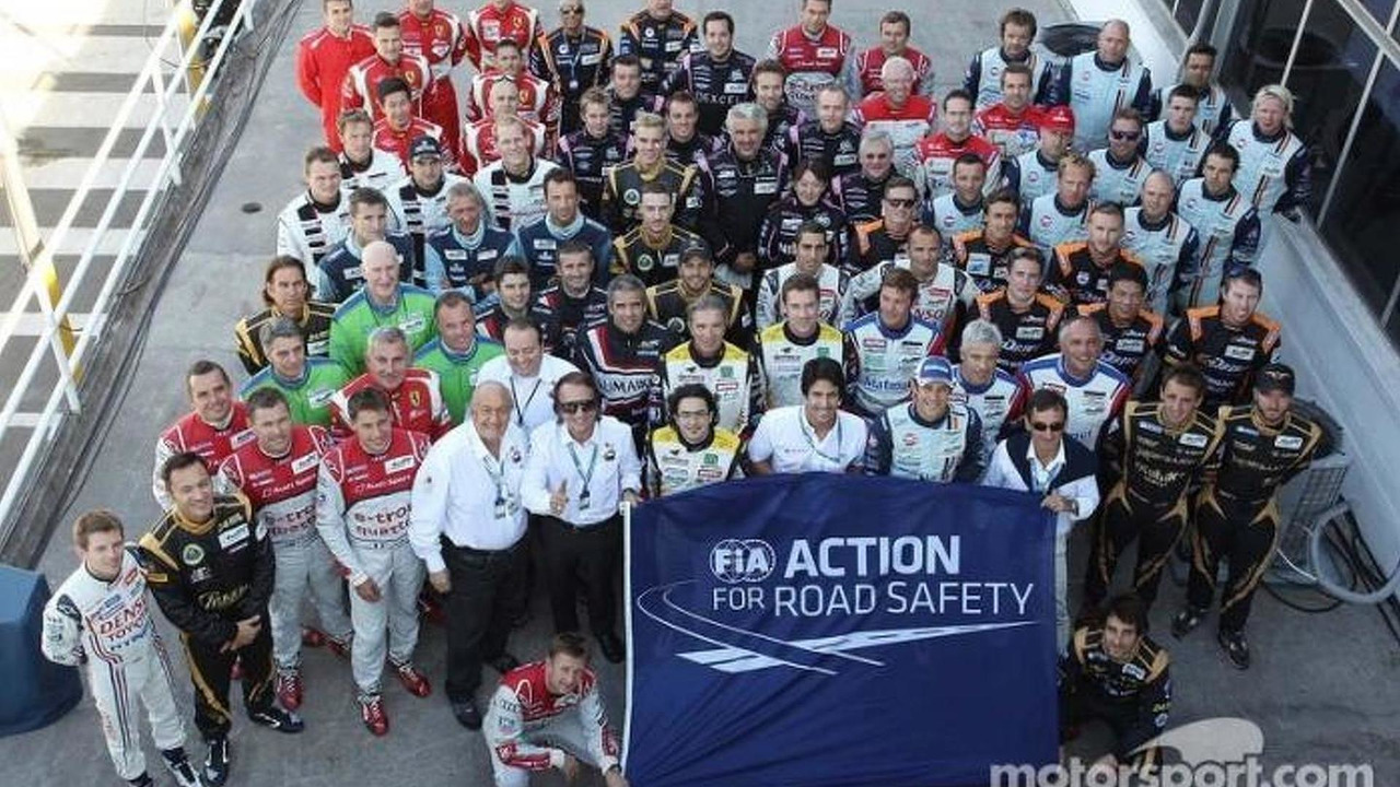 Drivers group photo for the FIA Action for Road Safety, WEC, Sao Paulo 2013