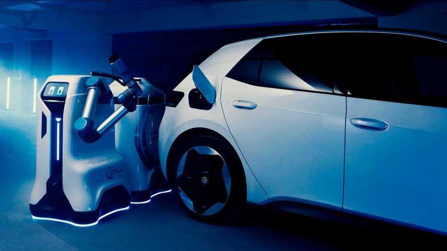 Volkswagen mostra robô de carregamento para carros elétricos