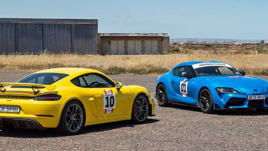 Toyota GR Supra Faces Porsche 718 Cayman GT4 In Straight-Line Sprint