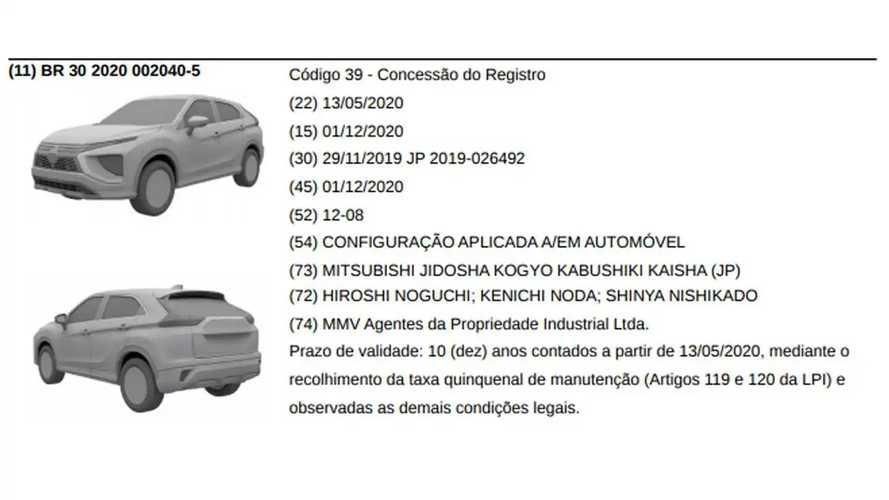 Mitsubishi Eclipse Cross 2021 - Registro no Brasil