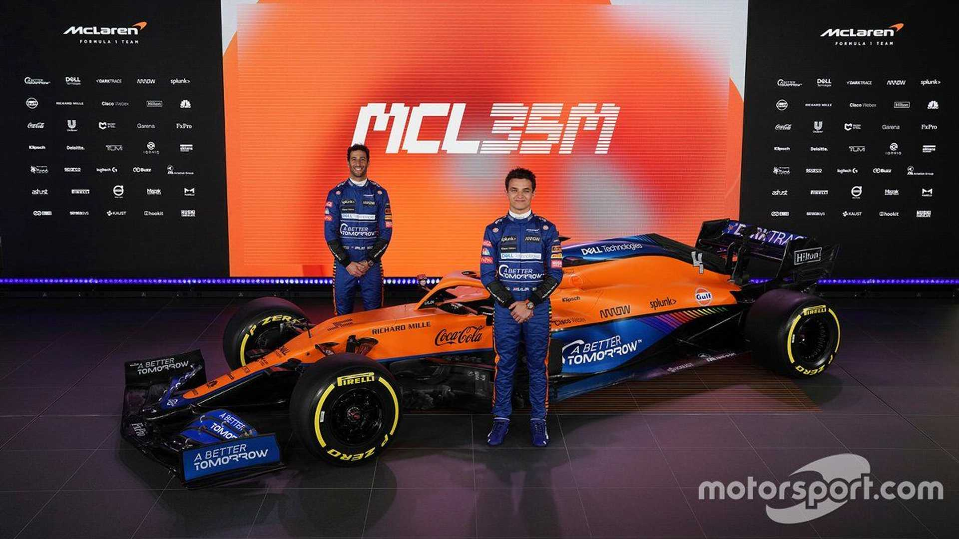 Daniel Ricciardo and Lando Norris at McLaren MCL35M presentation