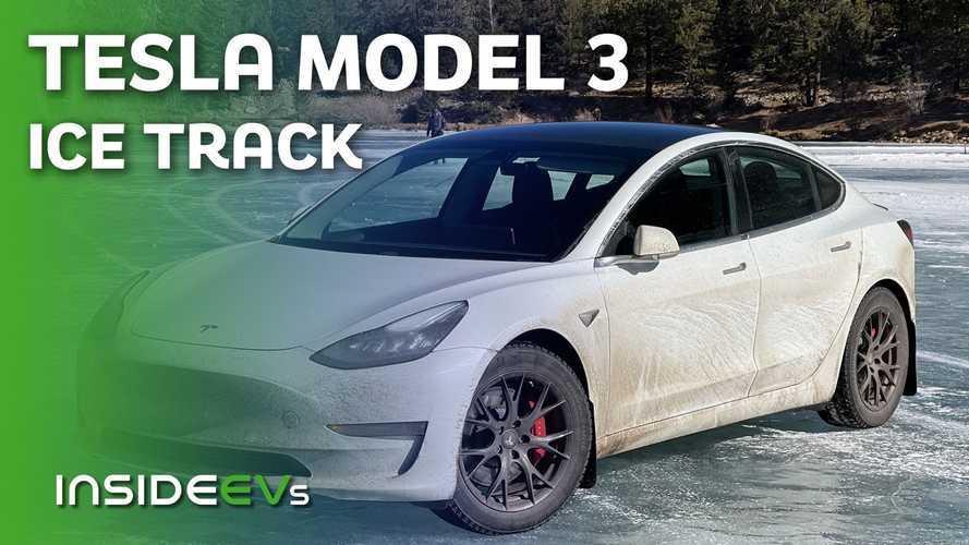 Watch Tesla Model 3 Performance Racing On A Frozen Lake