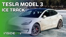 video tesla model 3 performance racing frozen lake